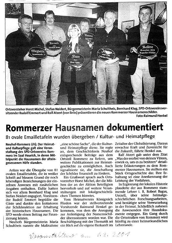 Fuldaer Zeitung vom 4.Februar 2001